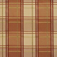 B0200B Peach Green Wine Plaid Silk Look Upholstery Fabric By The Yard