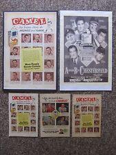 1940's & 1950's Camel Cigarette ads. Mantle, Williams, Dimaggio, Musial, etc.