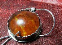 Pendentif original en argent massif 925 et Ambre bijou Pendant