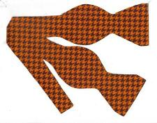 Autumn Bow tie / Orange & Brown Houndstooth Bow tie / Self-tie Bow tie