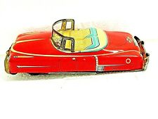 Vintage Japan Tin Litho Convertible Cadillac Friction Car Toy Red Nice Condition