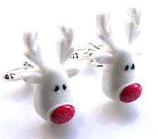 Incredibly cute handmade xmas reindeer christmas cufflinks - with free gift bag