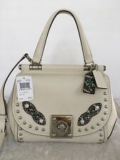 coach DRIFTER TOP HANDLE WITH WESTERN RIVETS AND SNAKE TRIM Satchel 86730 Chalk