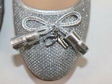 NIB $168 COACH Size 9 Women's Silver Metallic Fabric BENNI Flat Loafer