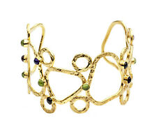 Azuni London NEW! Athena Gold Plated Mixed Stones Sculptural Cuff Bracelet