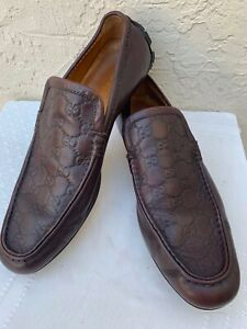 GUCCI GUCCISSIMA BROWN LEATHER LOAFERS MOCCASINS DRIVERS GREEN/RED STRIPE SZ 9.5