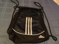 Adidas cinch sack backpack navy striped blue Alliance II book bag Size 18x13 3/4