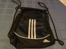 Adidas cinch sack backpack navy striped blue Alliance II book bag Size 18x13 3/4