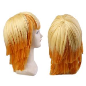 Anime Cartoon Characters Agatsuma Zenitsu Yellow Orange Long Curly Wig Cosp.fr