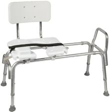 Bathroom Bath Shower Chair Tub Safety Sliding Transfer Bench Cut-Out Seat White