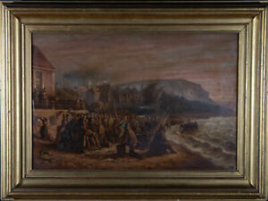 After V. Pellegrin - Late 19th Century Oil, Lifeboat House, Hastings