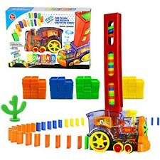 80 Pcs Domino Train Blocks Rally Electric Toy Set, Train Model with Transparent