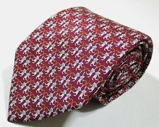 Salvatore Ferragamo Monkey Pattern Red Color Silk Necktie Tie Made In Italy
