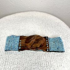 Boho Beaded Elastic Stretch Belt with Solid Wood Clasp Turquoise