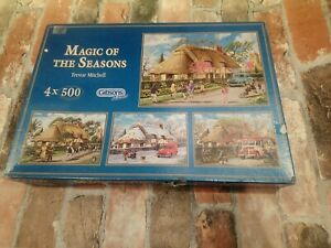 """Gibsons Trevor Mitchell """"Magic of the Seasons"""" 4x 500pcs Jigsaw Puzzle Complete"""