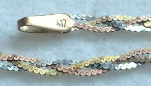 Bracelet 10k Solid White, Yellow & Rose Gold 0.75 Grams Length 18cm Width 2mm