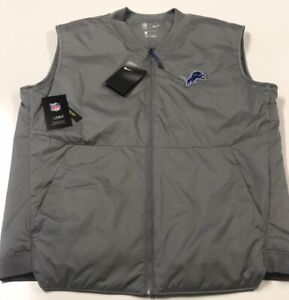 NIKE / NFL ON FIELD APPAREL - DETROIT LIONS Men's LARGE Gray Vest $120