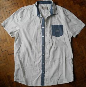 Chemise manches courtes KAPORAL L blanche fin motifs et poche & détails dénim