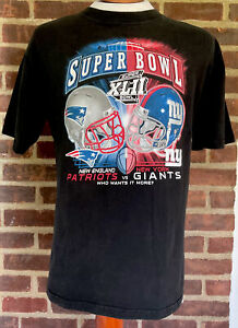 Vintage Reebok Super Bowl 42 XLII Giants vs Patriots T-shirt size large