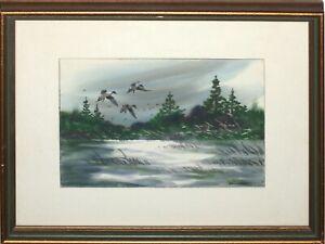 VINTAGE Water Color Painting Ducks Landing, Wisconsin Artist GERALD BERNHARDT