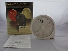 70/80er Weltzeituhr HELIT Design W. Zeischegg Space Age Ära weiß Uhr Tischuhr