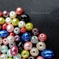150 Mixed Colour Round and Oval Glass Pearl Beads for Jewellery Making 6 & 8 mm