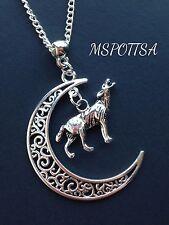Crescent Moon Wolf Necklace Teen Wolf Silver Half Moon Direwolf Stark Werewolf
