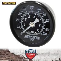 "Aeroflow Black 0 - 100 PSI Liquid Filled EFI Fuel or Oil Pressure Gauge 1/8"" NPT"