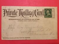 """Vintage """"Private Mailing Card"""" Act in 1898, with 1 cent B. Franklin stamp"""