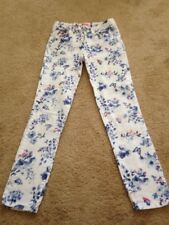 Lcw Girl's White Floral Jeans  10-11