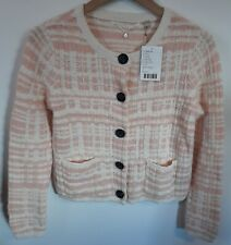 NWT Anthropologie Knitted & Knotted Pink Boucle Knit Cardigan, Size Small, $118