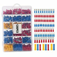 Assorted Electrical Wiring Connectors Crimp Terminals Set Kits Insulated-1200Pcs