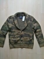 NWT Abercrombie & Fitch Shawl Cardigan Sweater S Camo sweatshirt jacket coat cap