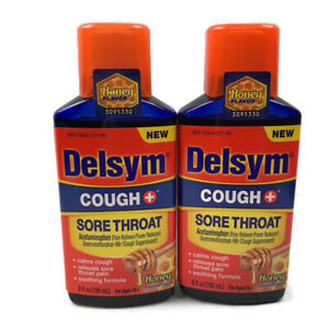 Set of 2 - Delsym Cough + Sore throat Syrup Honey Flavor 6 oz - EXP 11/2021