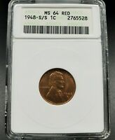 1948 s Lincoln Wheat Cent Penny Variety Coin ANACS MS64 RD S/S RPM-001 DDO-001