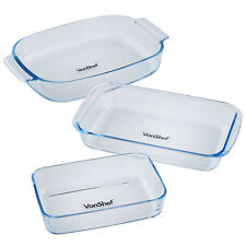 Vonshef 3 pièce verre four rôtir cuisson casserole lasagne plat plateau set