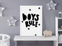 Boys Rule Scandinavian Print For Boys Bedroom / Nursery In Black & White