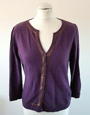 MONSOON Purple Cardigan Angora Blend 100% Silk Lined Floral Sequin UK 14