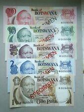 BOTSWANA 1, 2, 5, 10, 20 Pula Sir Seretse Khama 1976 1a,2a,3a,4a,5a UNC Banknote