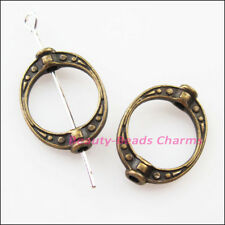 15Pcs Antiqued Bronze Tone Oval Dots Spacer Frame Beads Charms 14.5x19.5mm