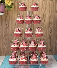 """Tiers (6""""-12"""") Square Party Acrylic Clear Cupcake Stand With Base"""