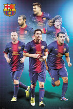 Rare FC BARCELONA PYRAMID OF GREATNESS Poster - Messi, Iniesta, Puyol, Xavi ++