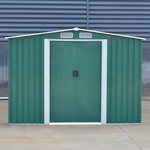Garden Metal Storage Shed 8 x 6 ft Outdoor Tool Shed Gabled Roof Galvanised Base