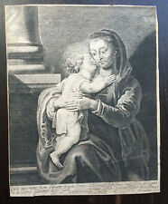 Suyderhoef Jonas After Rubens Virgin and Child Engraving Etching 17th c. Rare