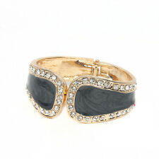 GORGEOUS 18K GOLD PLATED BLACK MARBLED ENAMEL AND CLEAR RHINESTONE BANGLE