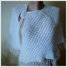Women Bolero White Wedding Lace Cape Bridesmaid Handmade Cloak Knit Shawl Poncho
