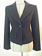 Nanette Lapore 6 womens blazer black red pinstripe bow tie back exposed stitch