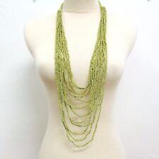 "40"" Waterfall Green Multi Strand Handmade Seed Bead Statement Necklace"
