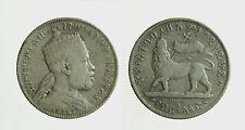 s591_1) MENELIK 1/2 Birr 1889 A  Etiopia - Ethiopia  Silver