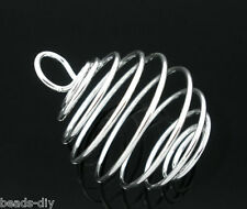 20 Silver Plated Spiral Bead Cages Pendants 29x24mm